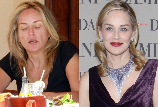 Sharon Stone, with and without.